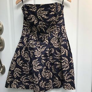 French Connection leaf print strapless dress